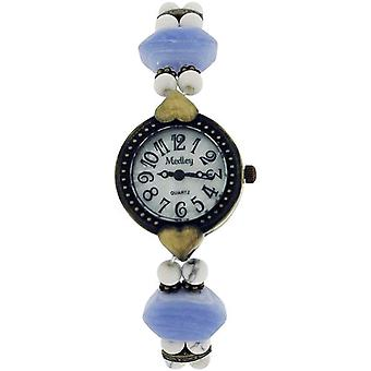 Medley Mother Of Pearl Dial Simulated Marbel/Beads Elasticated Strap Watch MED01