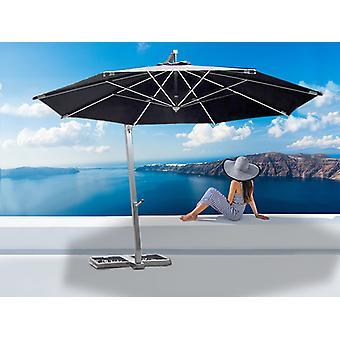 Freiarm-Sonnenschirm Bahamas, 4m, Schwarz, mit Sonnenschirmständer