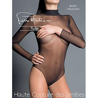 Pierre Mantoux Tulle Collo Alto Sheer Bodysuit