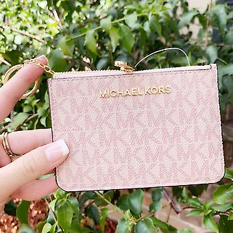 Michael kors jet set travel small top zip coin pouch id holder pink