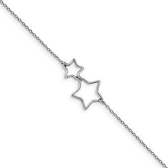 925 Sterling Silver Rhodium plated Cut out Stars With 2inch Ext. Anklet 9 Inch Jewelry Gifts for Women