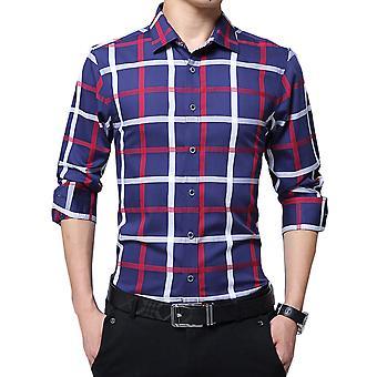 Allthemen męska koszulka z długim rękawem Plaid bawełna Koszulka z długim rękawem