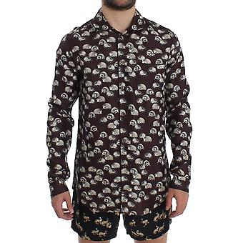 Dolce & Gabbana Purple Hedgehog Silk Pajama Shirt Sleepwear SIG12389-2