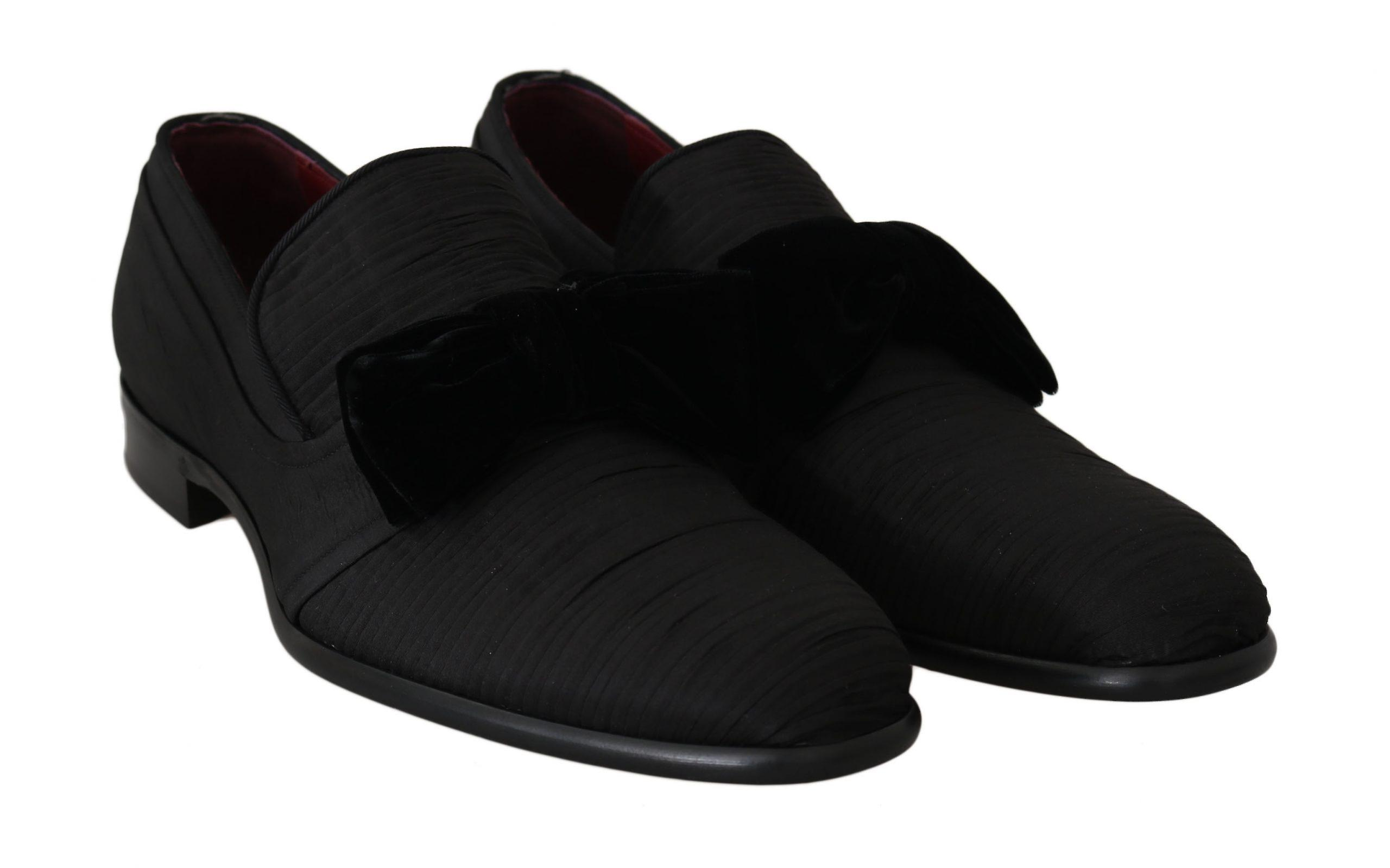 Dolce & Gabbana Black Silk Velvet Bow Dress Formal Shoes MV2288-43