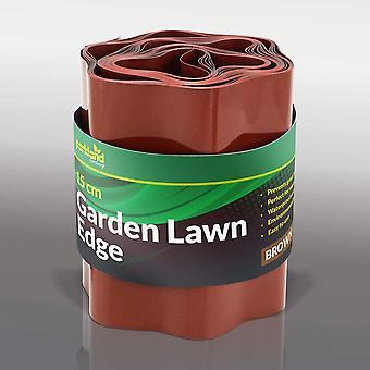 Parkland Plastic Garden Grass Lawn Edge Edging Border Fence (15cm x 9m, Brown)