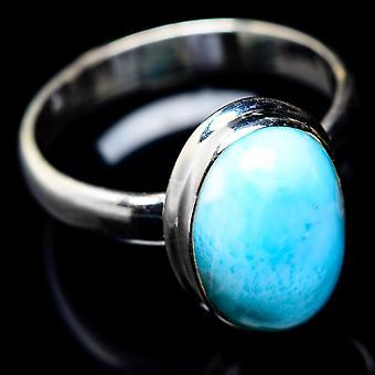 Larimar Ring Størrelse 9,75 (925 Sterling Sølv) - Håndlavet Boho Vintage smykker RING6158