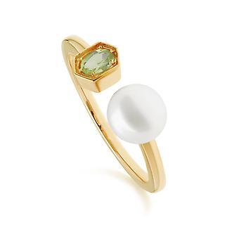 Altın Kaplama Gümüş 270R058707925 Modern pearl & Peridot Açık Yüzük