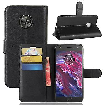 Motorola Moto X4 Litchi Portafoglio Custodia - Nero