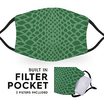 Crocodile Print - Reusable Childrens Cloth Face Masks - 2 Filters Included
