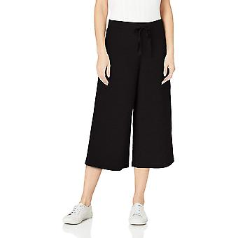 Daily Ritual Women's Terry Cotton and Modal Culotte Pant, Black, Medium