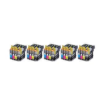RudyTwos 5 x ersättning för bror LC123 uppsättning bläck enhet svart Cyan gul & Magenta (4 Pack) kompatibel med MFC-J6920DW, MFC-J6520DW, DCP-J4110DW, MFC-J4410DW, MFC-J470DW, MFC-J870DW, MFC-J4510DW, DCP