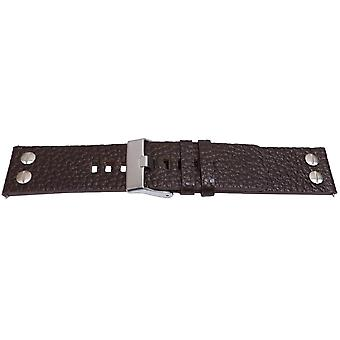 Buffalo grain watch strap calf leather with screw rivets black or dark brown