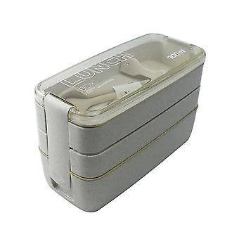 900ml 3 Layers Lunch Box Bento Food Container Eco Friendly Wheat Straw Material