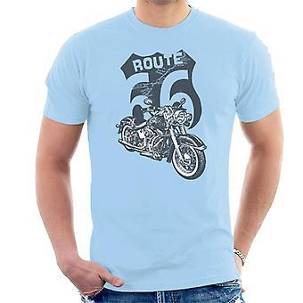 Route 66 Retro Road Map Shield Men's T-Shirt