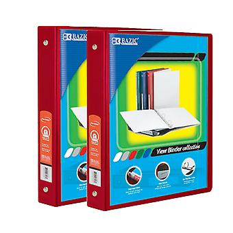 Combo65, BAZIC 1.5 Inch 3-Ring View Binder with 2-Pockets (Case pack of 24: Red)