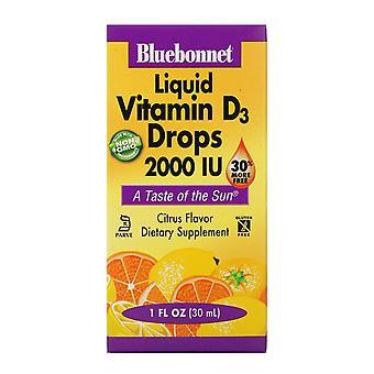 Bluebonnet Nutrition, Gouttes de vitamine D3 liquide, Saveur naturelle d'agrumes, 2 000 UI,