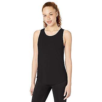 Core 10 kvinner's Pima Bomull-Blanding Åpen Rygg Yoga Tank, Svart, Medium