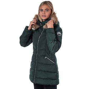 Women's Tokyo Laundry Jaboris Longline Quilted Puffer Jacket in Green