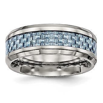 8mm Edelstahl poliert blau Kohlefaser Inlay Ring Schmuck Geschenke für Frauen - Ring Größe: 7 bis 13