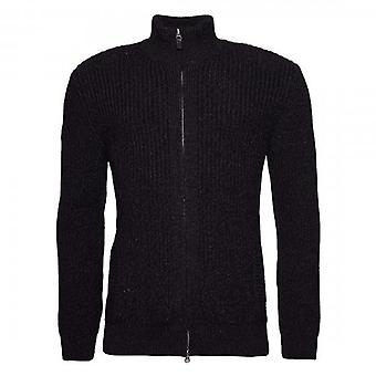Superdry Downhill Zip Up Chunky Knit Cardigan Black Twist V6K