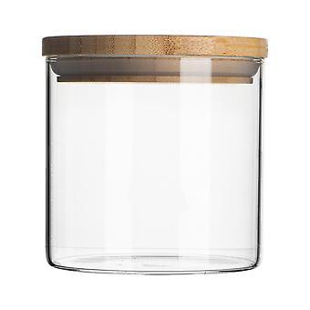 """צנצנת זכוכית עם מיכל אחסון מכסה עץ - מיכל אטום עגול בסגנון סקנדינבי - 550 מ""""ל"""