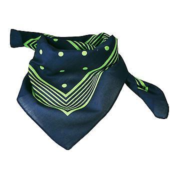 Ties Planet Navy Blue With Green Stripes & Polka Dot Bandana Neckerchief