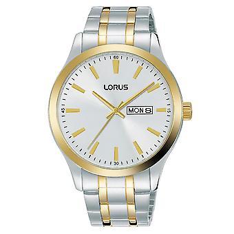 Lorus Mens Two Tone Bracelet Dress Watch With White Dial (Model No. RH346AX9)