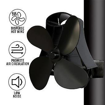 Wall Mounted Type 4 Blade Heat Powered Stove Fan - Home Fireplace Fuel Saving