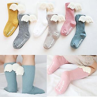 Μωρό κορίτσια γόνατο υψηλές κάλτσες Άγγελος Πτέρυγα - Καλοκαίρι Φθινόπωρο Βαμβάκι Κάλτσες