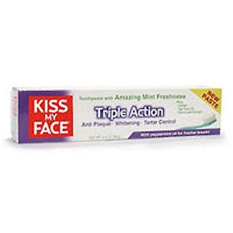 Kiss My Face Triple Action Toothpaste Flouride Free, Mint 4.1 oz