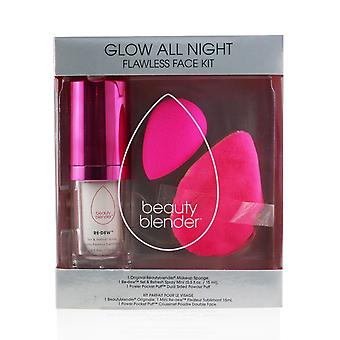 Glow all night flawless face kit: original beautyblender + setting mist + dual sided powder puff (exp. date 15/04/2021) 256203 3pcs