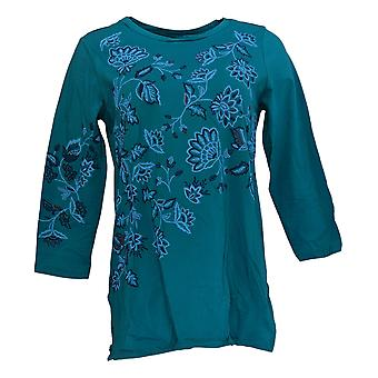 Antthony Women's Top S Floral Embellished 3/4 Sleeve Tee Blue 677-725