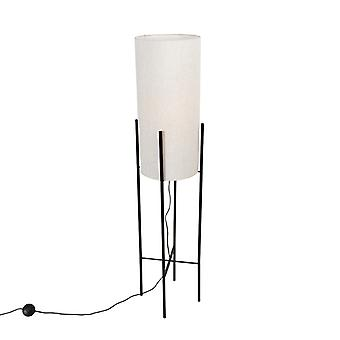 QAZQA Design floor lamp black linen shade gray - Rich