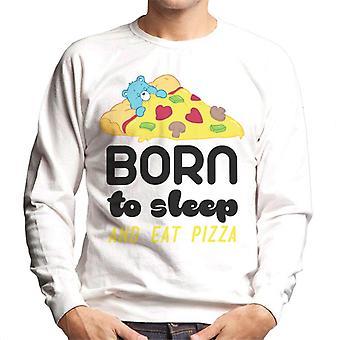 Pflege Bären Schlafenbär geboren, um zu schlafen und essen Pizza Männer's Sweatshirt