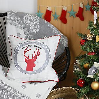 طبع عيد الميلاد الغزلان رمي غطاء وسادة