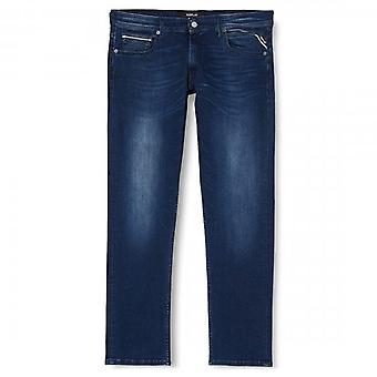 Replay Grover Straight Fit Dark Blue Washed Denim Jeans MA972Z 030 41A