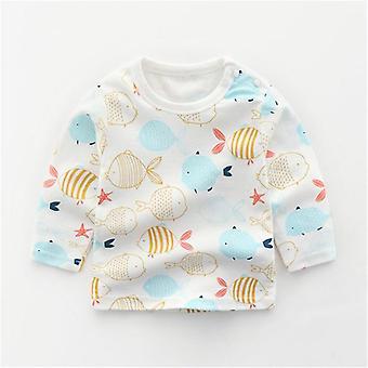 Toddler Casual Shirts Vêtements nouveau-nés, Cotton Cartoon Animal Print Infants