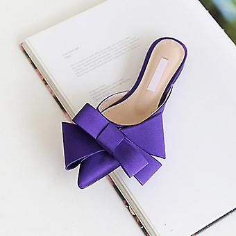 Women's Korean Silk Satin Pointed Bow Tie Slippers