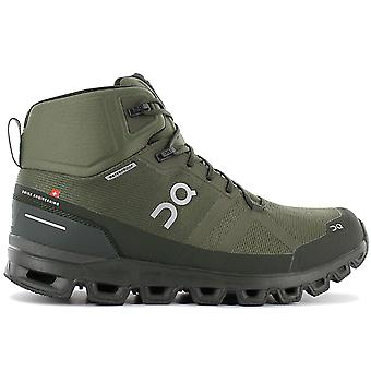 ON Running Cloudrock Waterproof - Men's Outdoor Mid-Cut Shoes Green 23.99615 Sneakers Sports Shoes