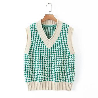 Knitted Vest Sweater, V Neck/sleeveless/side Vents Loose Female Waistcoat