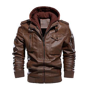 YANGFAN Men's Faux Leather Bomber Jacket Removable Hooded Slim Motorcycle Coat