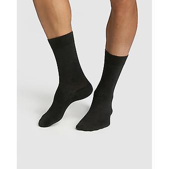 Lot Of 2 Pairs of High Socks In Organic Cotton Sun - Grey