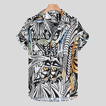 Men Shirt Vintage Ethnic Printed Turn-down Collar Short Sleeve Shirt