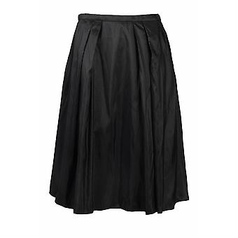 Mid Waist Pleated Zipper Back Solid Tafetta Skirt