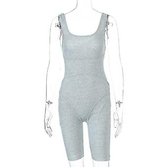 Solid Color Sleeveless Sports Jumpsuit Romper