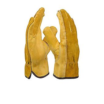Genuine Leather, Comfortable, Durable  And Cut-resistant Garden Work Gloves