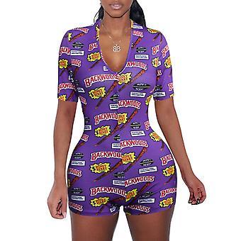 Summer Sexy Bodycon Long Sleeve Print Jumpsuit Short Pants