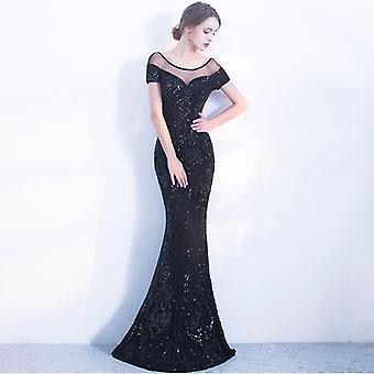 אלגנטי ללא גב, שרוול קצר, שמלת מסיבת ערב