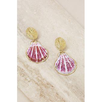 Hot Spot Pinky Shell 18k Gold Plated Earrings