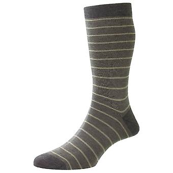 Pantherella Barrington Jacquard Birdseye Stripe Fil D'Ecosse Socks - Mid Grey Mix